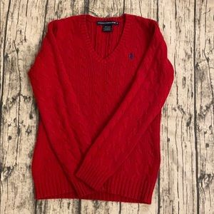 Ralph Lauren Sport red cable knit sweater